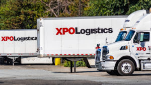 A shot of XPO Logistics (XPO) trucks in San Francisco, California.