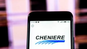 LNG stock: the Cheniere logo displayed on a phone