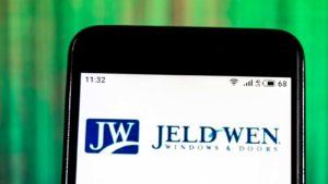 Jeld-Wen (JELD) logo displayed on a smartphone