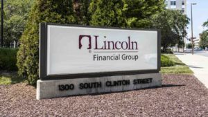 Lincoln National (LNC) logo on sign outside of corporate office