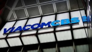 A ViacomCBS (VIAC, VIACA) out front of a corporate building in Times Square.