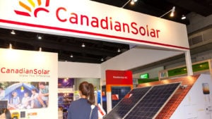 A Canadian Solar (CSIQ) display booth at a convention in Bangkok, Thailand.