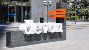 A sign for Devon Energy (DVN) out front of a company office in Calgary, Canada.