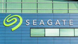 A Seagate Technology (STX) sign hanging above an office in Silicon Valley, California.