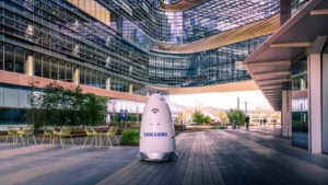 A Knightscope robot with a Samsung logo patrols the Samsung corporate campus.