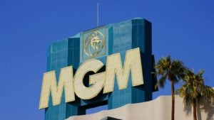 A photo of the MGM logo on the MGM casino building representing sin stocks