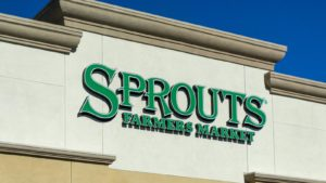 An exterior sign on a Sprouts Farmers Market (SFM) store in Granada Hills, California.