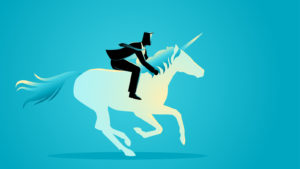 A digital illustration of a businessman riding a unicorn.