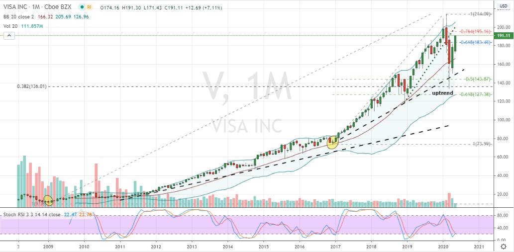 V Stock Monthly Chart