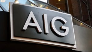 American International Group (AIG) logo on a corporate building