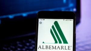 Albemarle (ALB) logo on a mobile phone screen