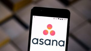 Asana logo displayed on a cellphone
