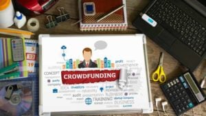 an image of the words crowdfunding on a tablet on a table. invest in startups