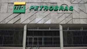 the Petroleo Brasileiro (PBR) logo on a building during daylight