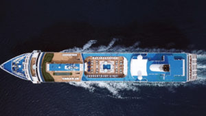 Royal Caribbean (RCL) ship at sea from an overhead view