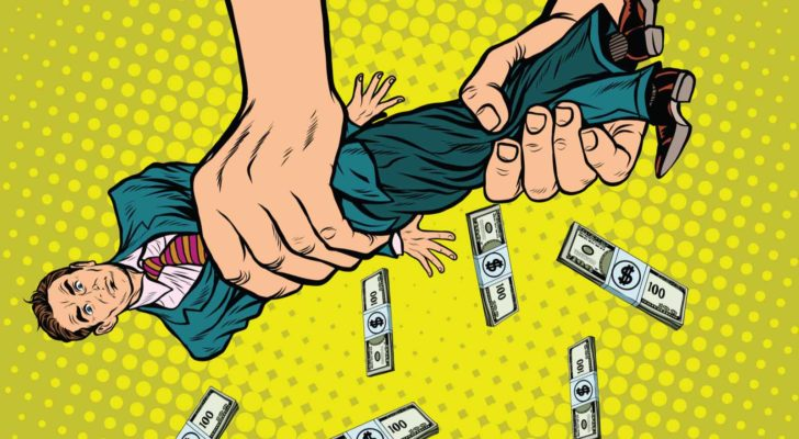 illustration of a person wringing out a business man on a yellow cartoon backdrop with dollar bills falling