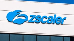 Zscaler (ZS) logo on a corporate building