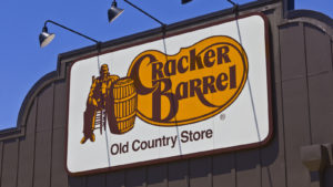 Cracker Barrel Old Country Store sign on the outside of one of its locations