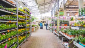 Abstract blurred hardware store aisle with garden goods as background