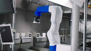 "a computer rendering of Miso Robotics's ""Flippy"" robot"