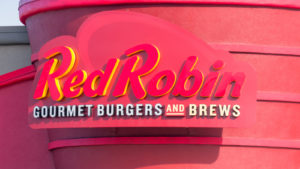 Red Robin (RRGB) Sign Above Store Entrance