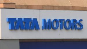 A Tata Motors (TTM) sign in New Delhi, India.