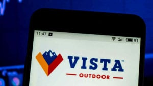 the Vista Outdoor logo is displayed on a smartphone