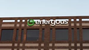 Image of the Energous Corp. logo on the side of a building
