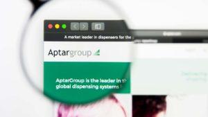 Aptargroup website zoomed in on the logo