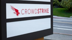 A sign with the Crowdstrike (CRWD) company logo