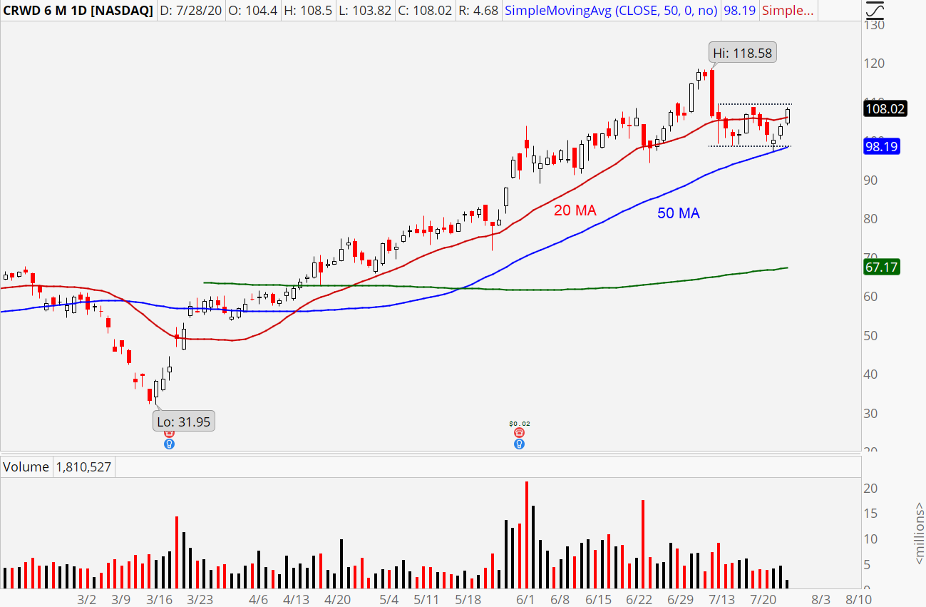 CrowdStrike (CRWD) daily chart showing hold of 50-day moving average