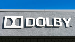 Dolby Laboratories (DLB) sign and logo at Silicon Valley campus. Dolby Laboratories company specializing in audio noise reduction and audio encoding, compression - Sunnyvale, CA, USA - 2020