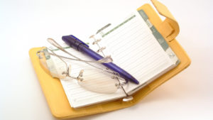 A pen and a pair of eyeglasses sit inside an organizational planner.