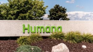 A Humana (HUM) sign out front of the company's office in Louisville, Kentucky.