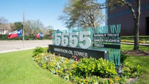 San Felipe Street 5555 outside address stand with Marathon Oil Tower tenants on February 2016 in Houston, United States.
