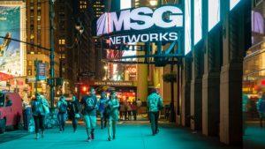 MSG Network (MSGN) sign opposite Penn Station in New York.