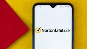 a smartphone running Norton Life Lock
