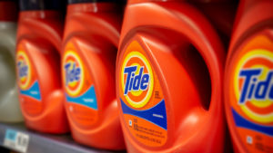 Tide containers on a store shelf