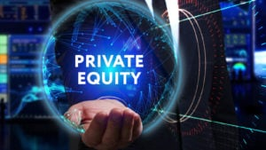"A businessman holds a holographic logo that says ""private equity."""