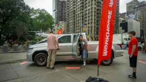 A Workhorse (WKHS) W-15 hybrid electric pickup truck on display at a branding event in Flatiron Plaza in New York. electric vehicle stocks