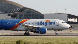 An Allegiant Air (ALGT) Airbus A319 lands at a Los Angeles, California airport.