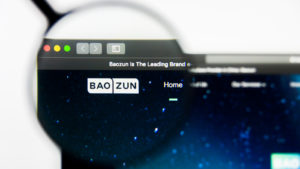 Baozun (BZUN) website with logo highlighted with a magnifying glass