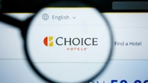 A magnifying glass zooms in on the Choice Hotels (CHH) website.