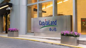 The entrance to a CapitaLand (CPAMF) building in Shanghai, China.
