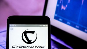 The Cyberdyne (CYBQY) logo displayed on a smartphone screen.