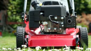 Picture of a lawnmower cutting grass