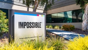 Impossible Foods logo on a sign outside the company's corporate headquarters in Silicon Valley.