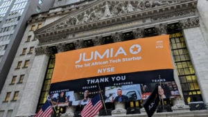 Jumia (JMIA) banner at the New York Stock Exchange