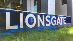 A Lions Gate (LGF.A, LGF.B) sign in front of the company headquarters in Santa Monica, California.