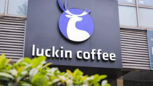 close up luckin coffee's logo coffee brand in Shanghai, June 2019.